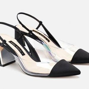 Zara Heeled Slingback Vinyl Shoes